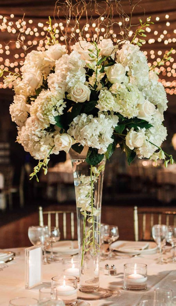 Tall white Wedding Centerpiece - Esvy Photography
