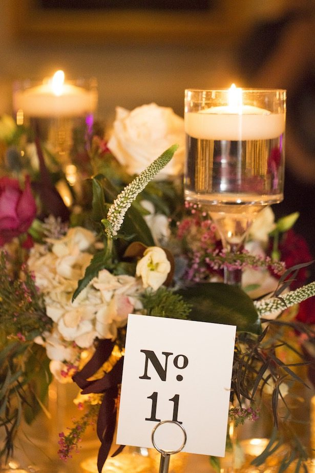 Wedding Centerpiece and table number - Anna Schmidt Photography
