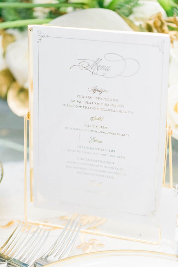 White and Gold Wedding Menu - Lula King Photography