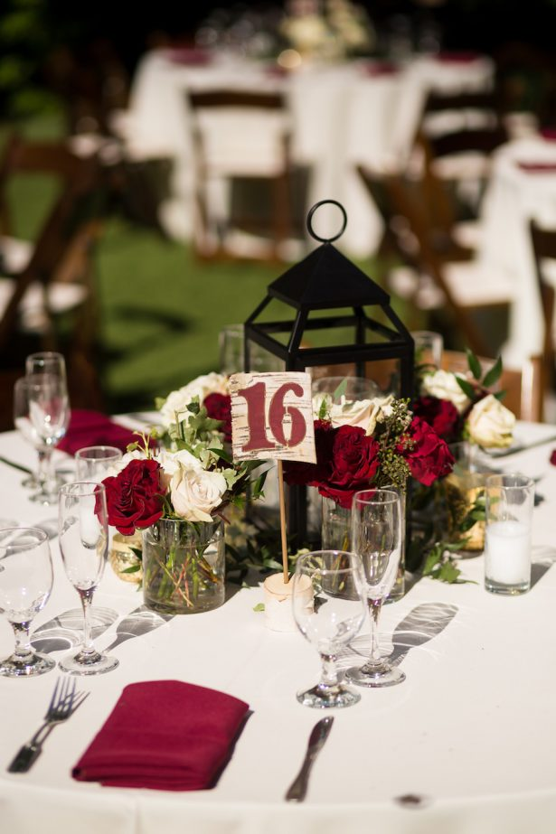 Burgundy Wedding Centerpiece - Brian Leahy Photography