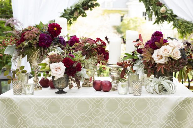 Burgundy Wedding Centerpieces - Adeline & Grace Photography