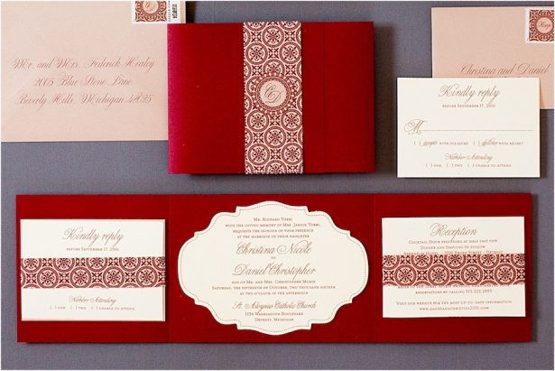 Burgundy Wedding Stationery - 008. Gourmet Invitations 2