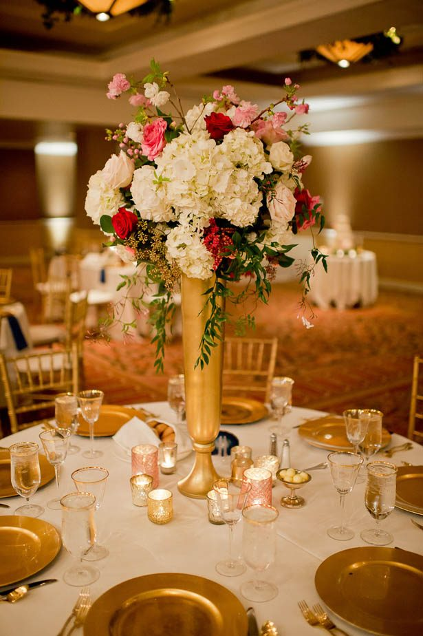 Gold Wedding Centerpiece - Photography: Mosca Studio