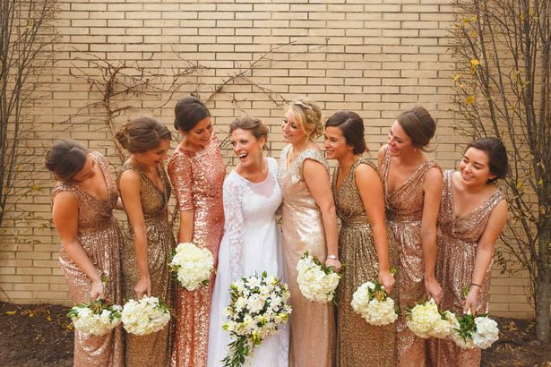 Gold sequins bridesmaid dresses - Don Mears Photography