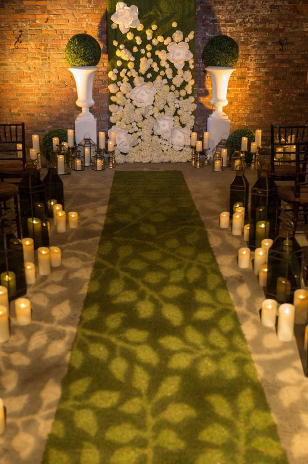 Greenery wedding ceremony aisle - Emily Leis Photography