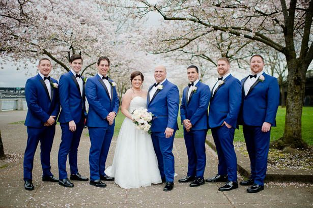 Groomsmen in blue tuxedos - Photography: Mosca Studio