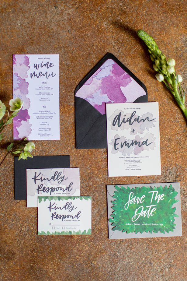 Water color wedding invitations - Emily Leis Photography
