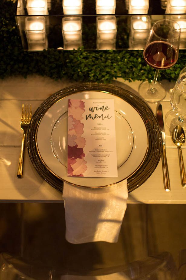Water color wedding menu and place setting - Emily Leis Photography