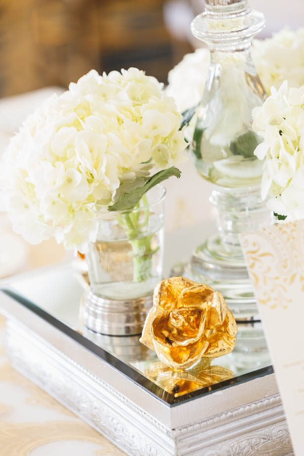 White and gold wedding centerpiece - Don Mears Photography