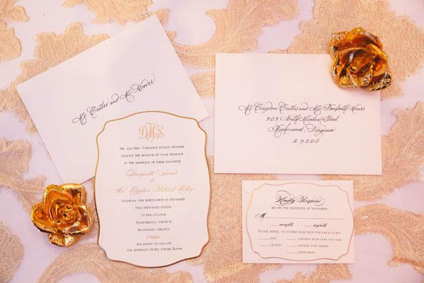 White and gold wedding invitations - Don Mears Photography