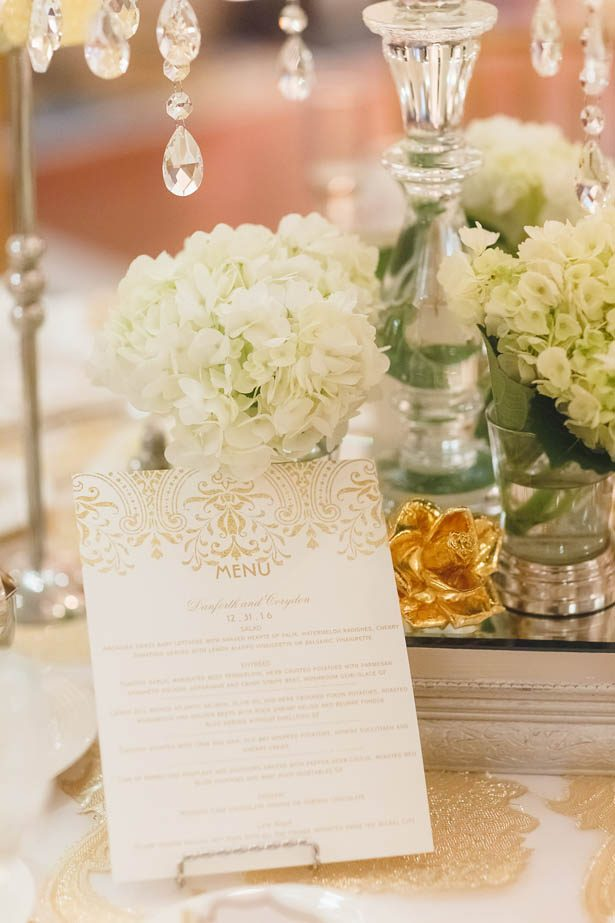 White and gold wedding menu - Don Mears Photography