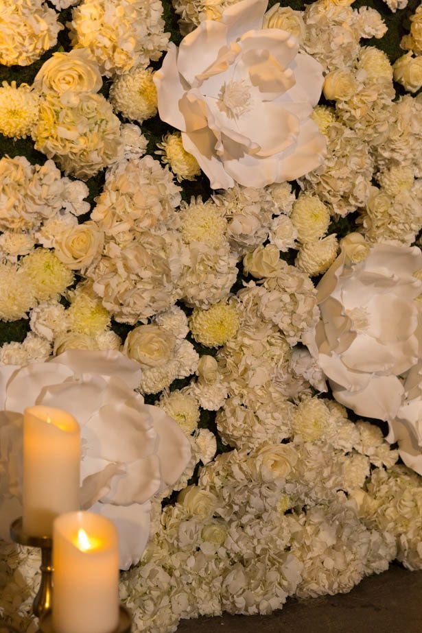 White and green wedding flower wall - Emily Leis Photography