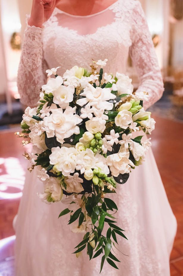 White cascading wedding bouquet - Don Mears Photography