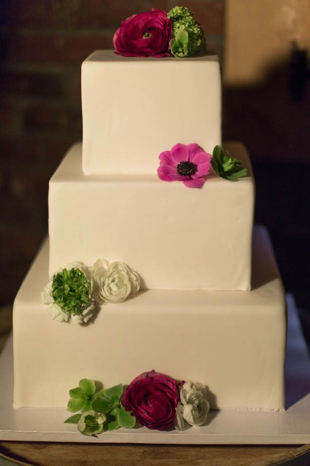 White square wedding cake - Emily Leis Photography