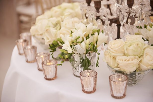 white wedding flowers and mercury glass - Photography: Studio Bonon