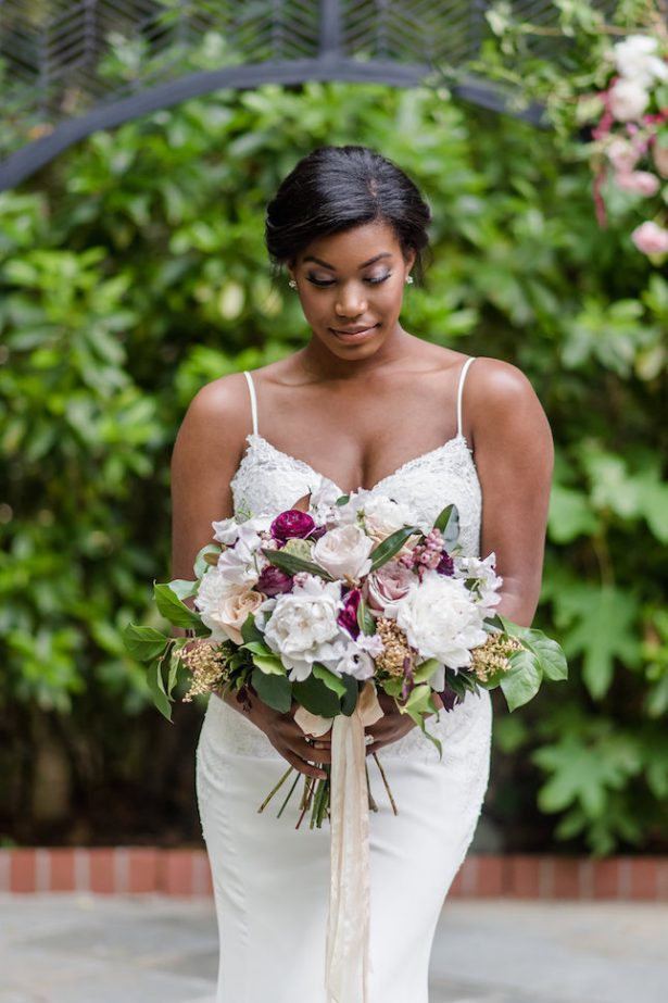 Bold and Romantic Wedding Bouquet and sophisticated bride - KVC Photography