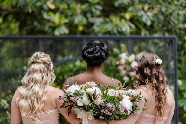 Bold and romantic bridal party bouquets - KVC Photography