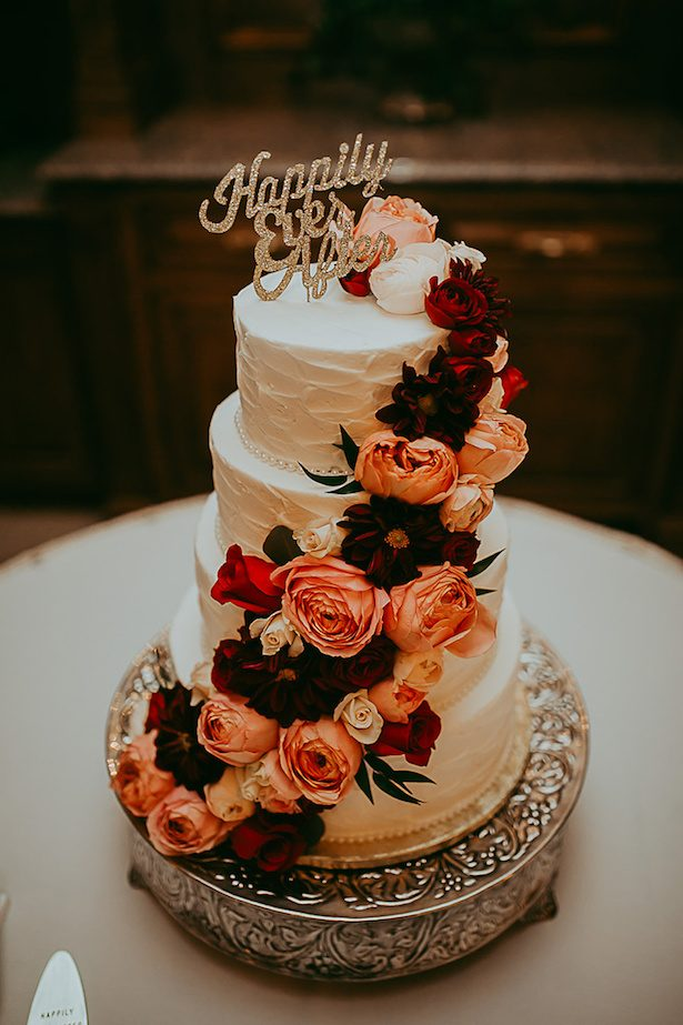 Burgundy and coral wedding cake - Ashley Layden Photography