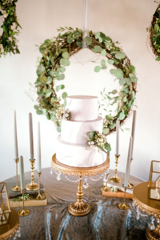 Grey and greenery wedding cake table- Sparrow and Gold Photography