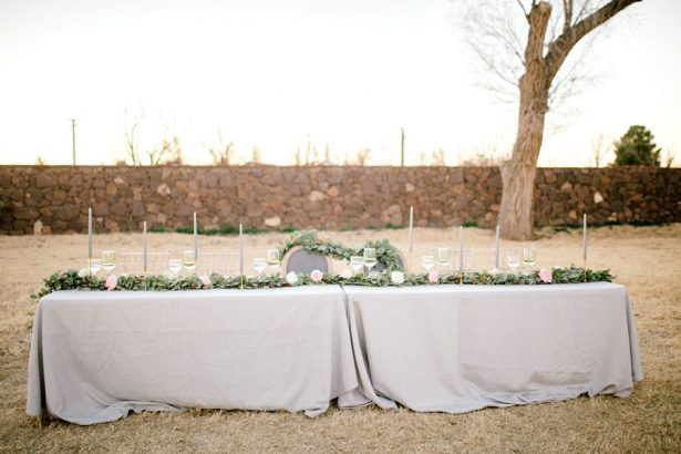 Grey and greenery wedding tablescape - Sparrow and Gold Photography
