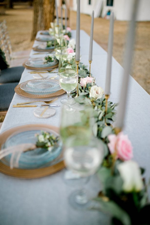Grey and greenery wedding table - Sparrow and Gold Photography