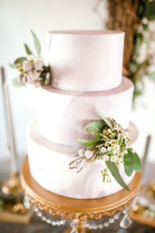 Marble wedding cake with greenery accent - Sparrow and Gold Photography