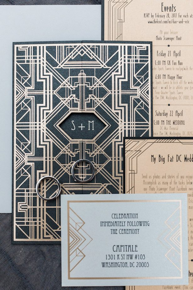 Metallic Wedding Stationary -Photography: Andrea Rodway Photography