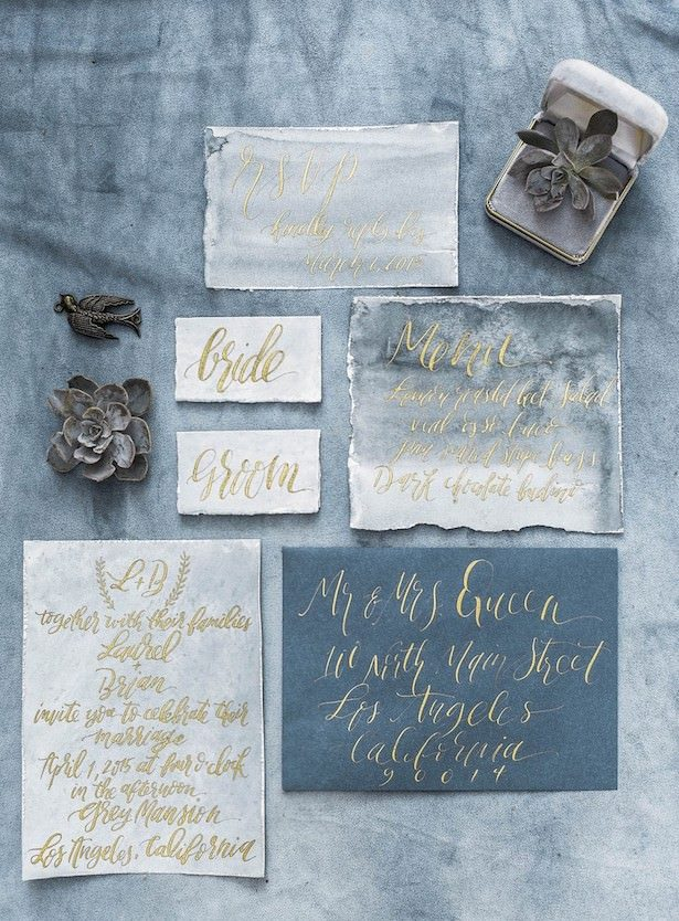 Metallic Wedding Stationary - Photographer: Lara Lam