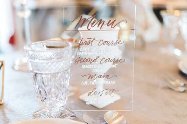 Metallic Wedding Stationary - EDE By Jacqueline - Jillian Rose Photography - Tabletop Rentals by Borrowed Blu - Linens by Luxe Linen - Calligraphy by Heidi Davidson Designs