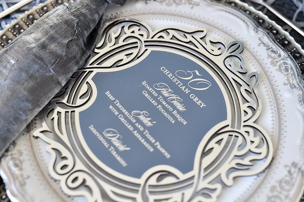 Metallic Wedding Stationary - Gourmet Invitations - BTW Photography - Crate & Barrel - Leah Moss Calligraphy - Purple Clover Events