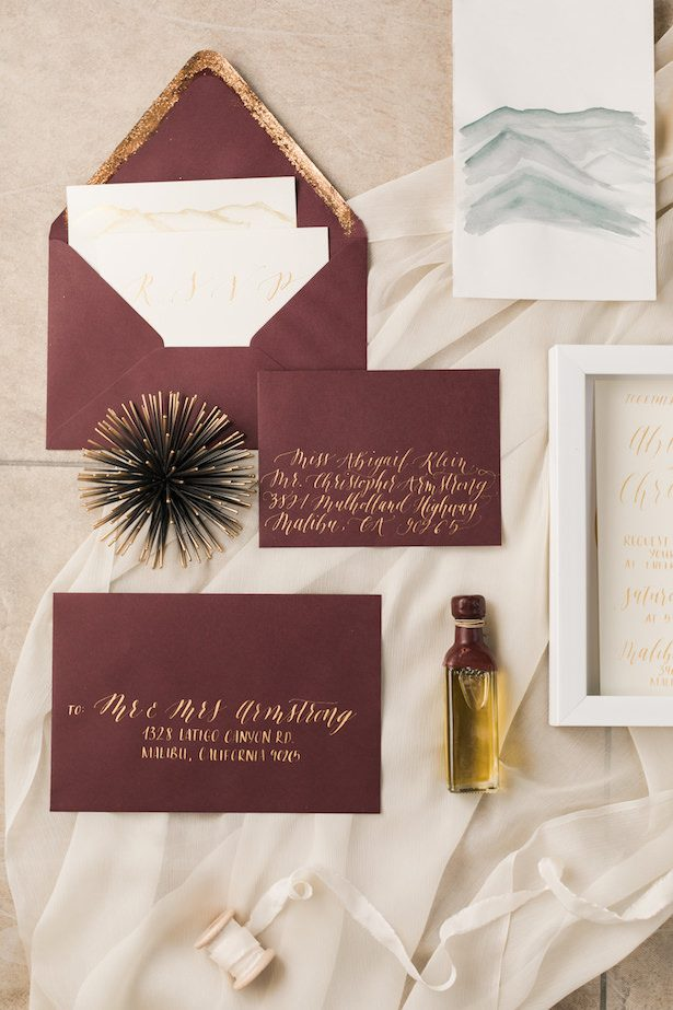 Metallic Wedding Stationary - Valorie Darling Photography - Invites by Swell Calligraphy - Coordinated by Nicole Alexandra Designs