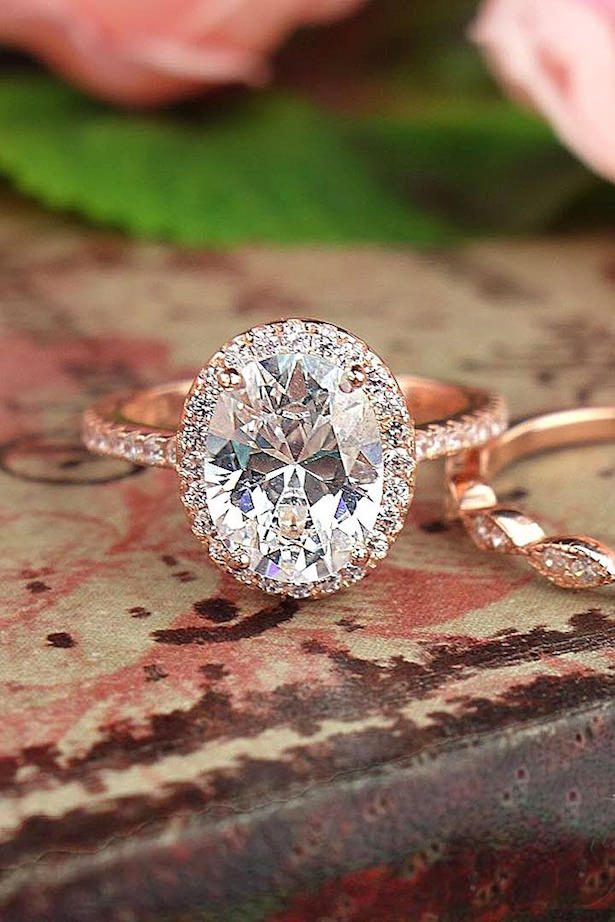 Diamond Engagement Ring - Center diamond oval halo rose gold diamond engagement rings - Tiger Gemstones