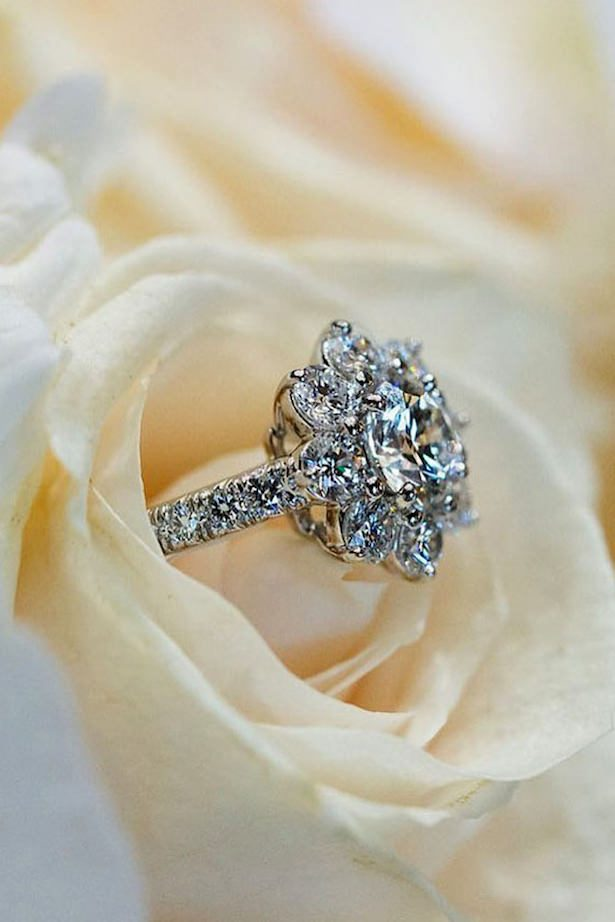 Diamond Engagement Ring- floral halo round cut diamond white gold - Harry Winston