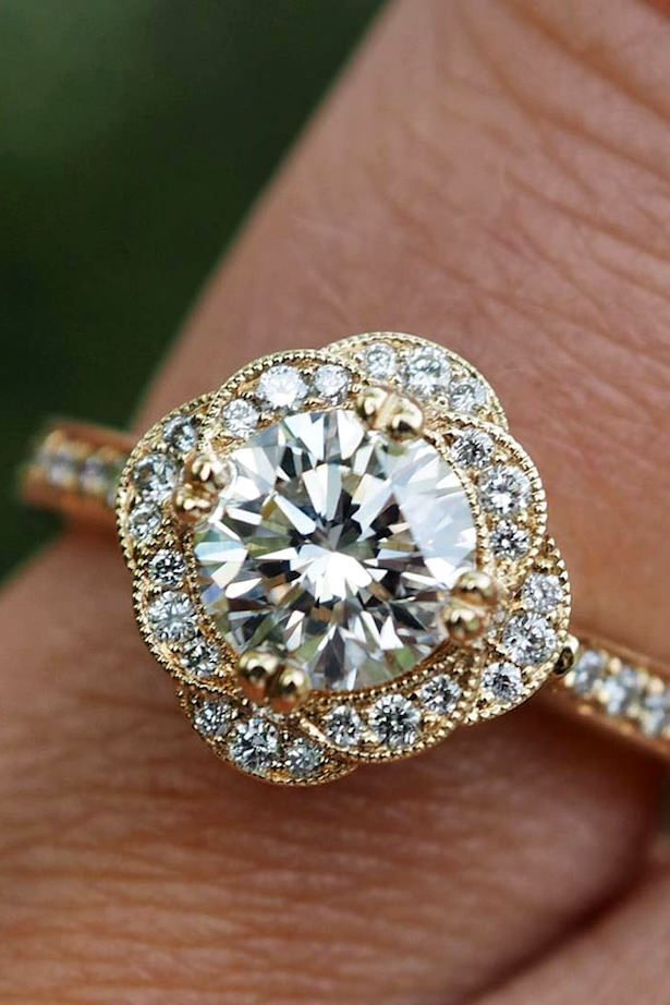 Diamond Engagement Ring - floral ring rose gold- Green Lake Jewelry
