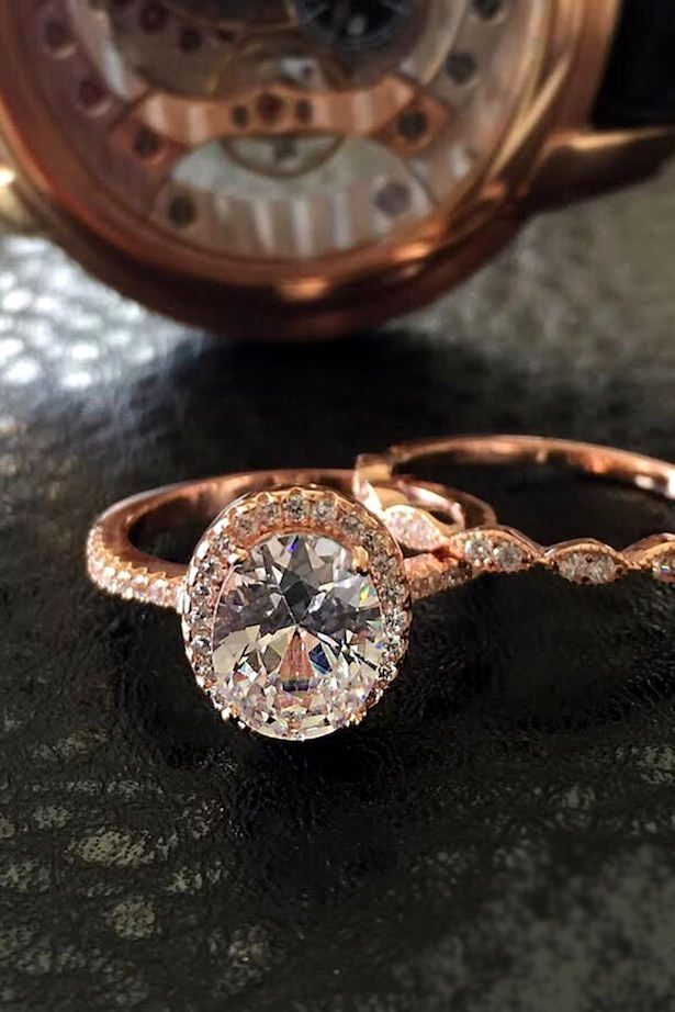 Diamond Engagement Ring - Oval halo rose gold pave band - Tiger Gemstones