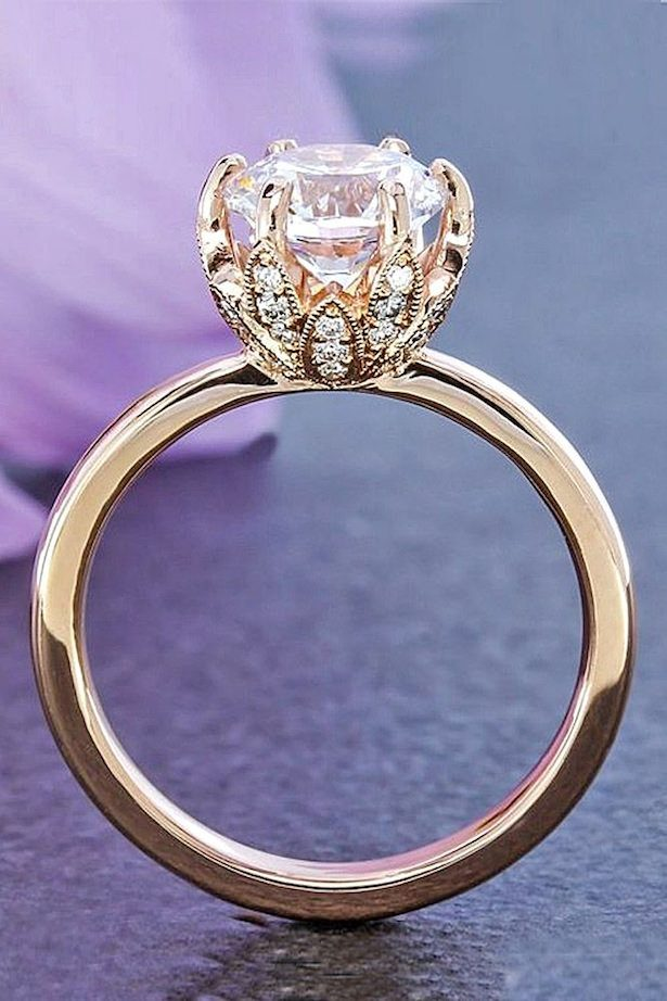 Diamond Engagement Ring - rose gold floral diamond ring - Green Lake Jewelry