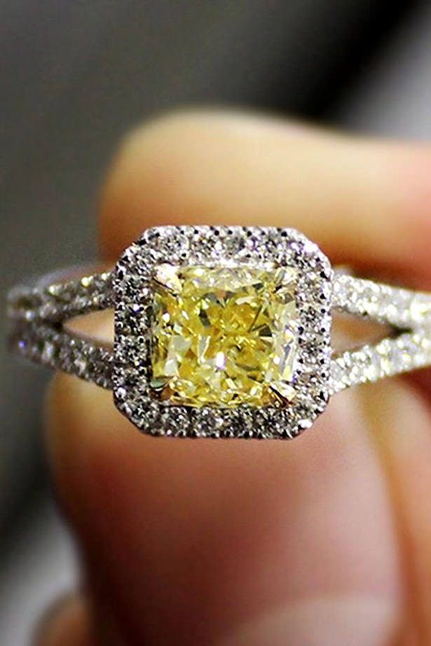 Diamond Engagement Ring- white gold yellow princess cut diamond halo - Diamond Mansion