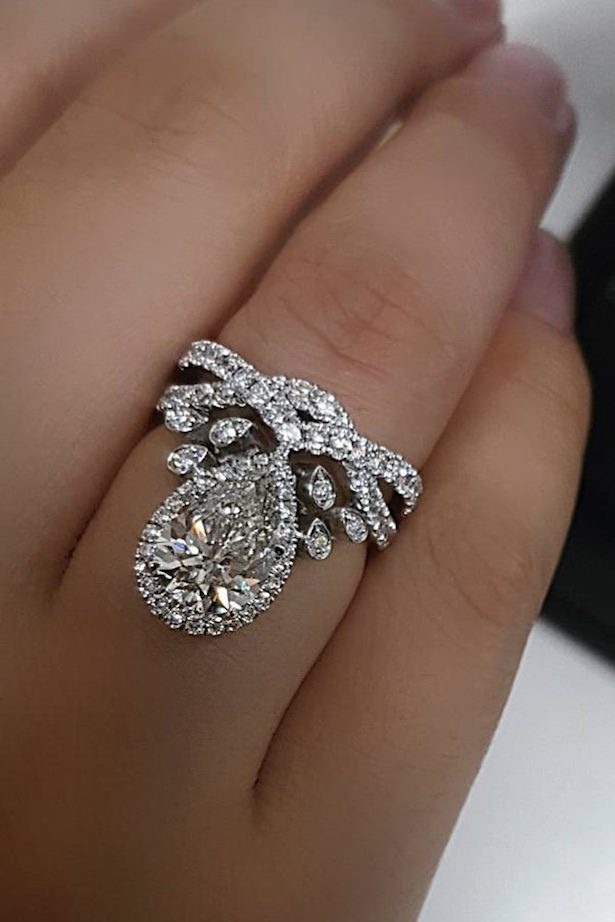 Diamond Engagement Ring - white gold pear diamond pave band - Jacque Fine Jewellery