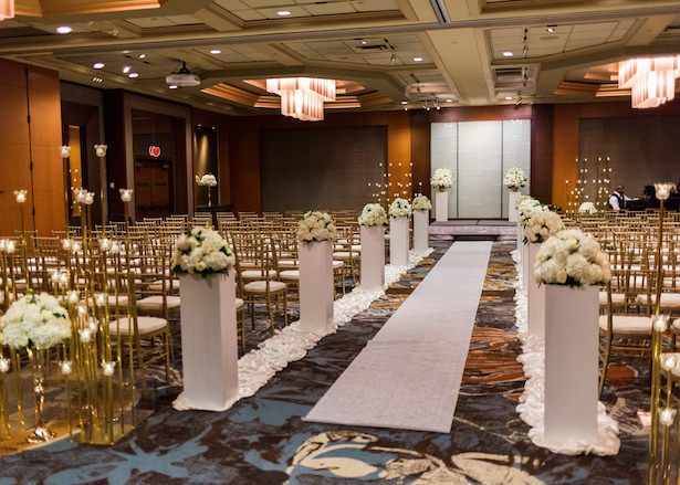 Ballroom wedding ceremony decor - Alexandra Knight Photography