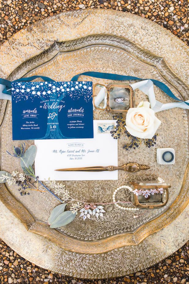 Blue and gold wedding details - Lieb Photographic