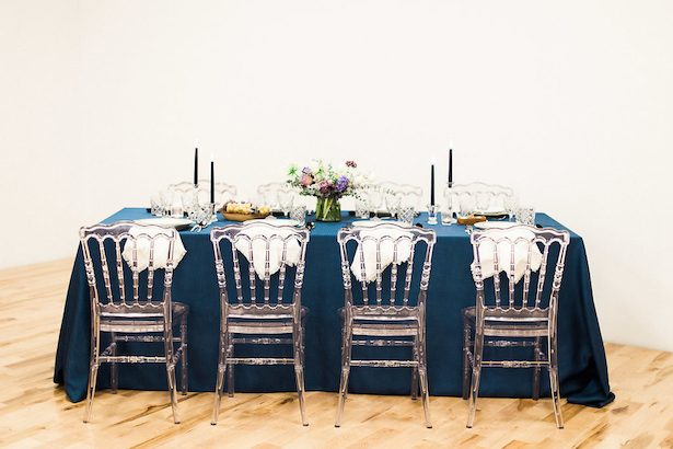 Blue wedding tablescape - Esther Funk Photography