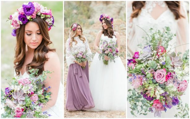 Lavender and Cactus: Bohemian Bride and Maid of Honor Inspiration