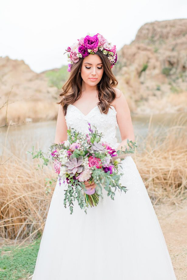 Boho bride bouquet and flower crown - Jade Min Photography LLC