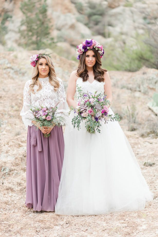 Lavender And Cactus Bohemian Bride And Maid Of Honor