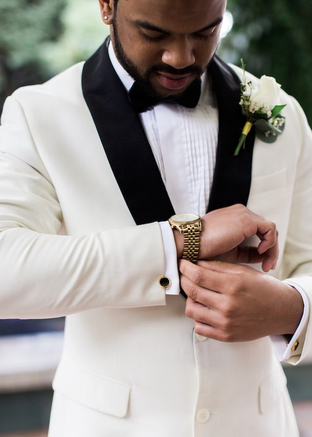Groom -White wedding tux - Alexandra Knight Photography