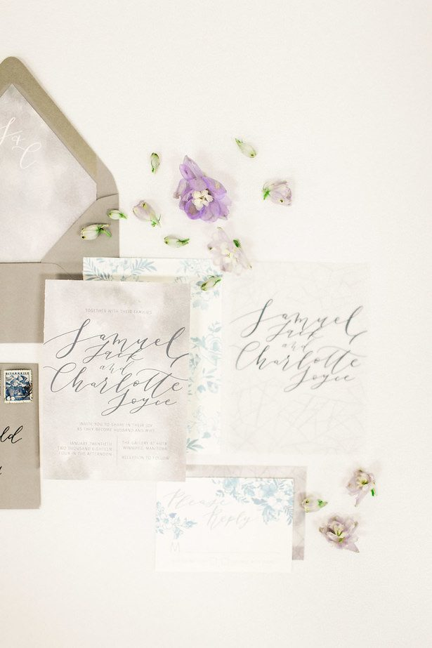 Icy pastel wedding invitations - Esther Funk Photography