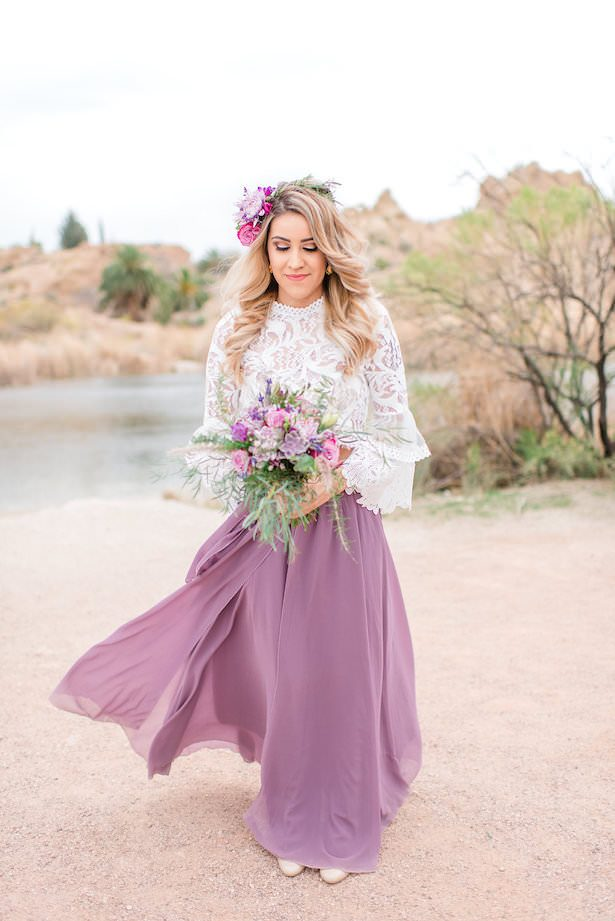 Long purple bohemian bridesmaid dress - Jade Min Photography LLC