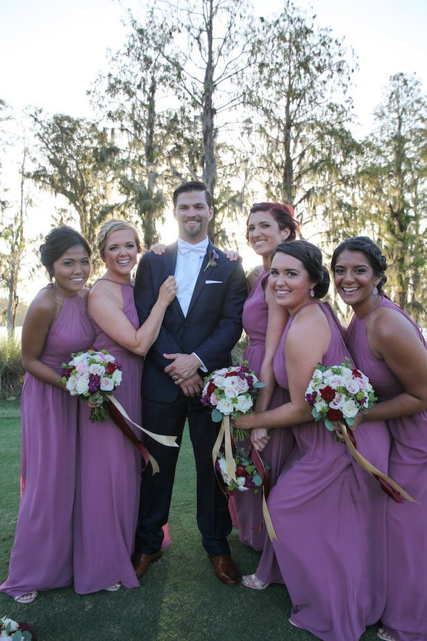 Long purple bridesmaid dresses - Tab McCausland Photography