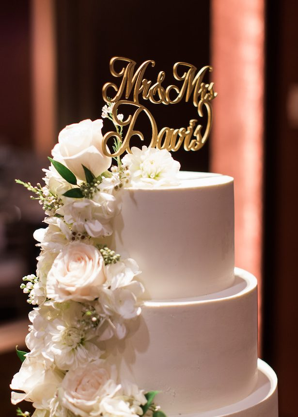 White and gold wedding cake - Alexandra Knight Photography