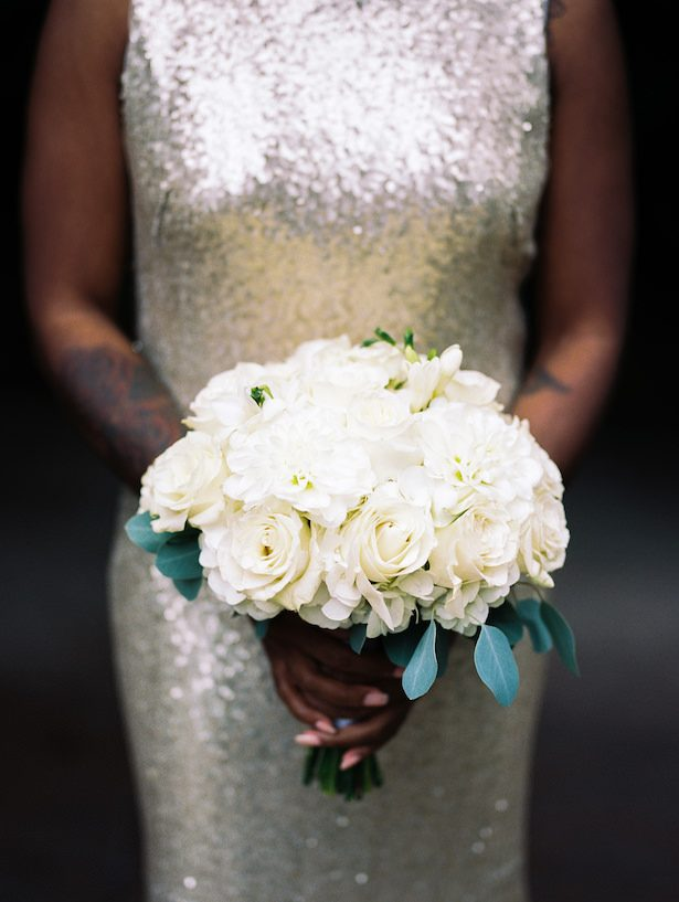 White roses bridesmaid bouquet - Alexandra Knight Photography